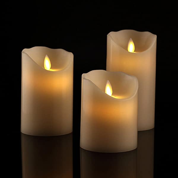 Antizer Flameless Candles 4 5 6 Set Of 3 Ivory Dripless Real Wax Pillars Include Realistic Dancing LED Flames And 10 Key Remote Control With 24 Hour Timer Function 400 Hours By 2 AA Batteries