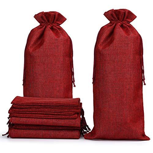 Naler 12 Bolsas de Yute Bolsas de Vino de Arpillera para Botella de Vino con Cordón 35,5 x 15,9 cm Rojo