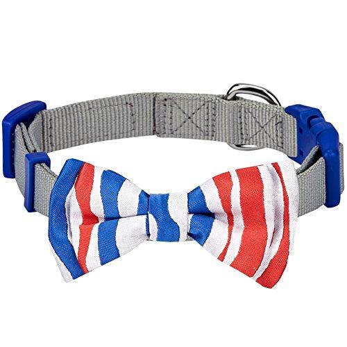 Blueberry Pet Nationalstolz Artistische Handgefertigte Französische Flagge/Pavillon de La France Fliege Hundehalsband in Grau, S, Hals 30cm-40cm