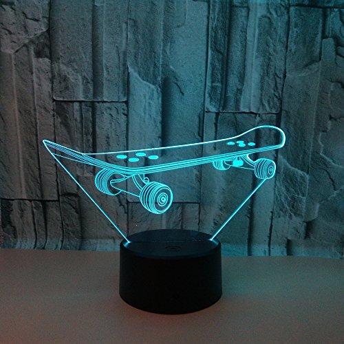 3D Nachtlicht Led Skateboarden Illusion Lampe Dekoration Nachttischlampe Ideale Geschenke Für Kinder Jungen Und Mädchen Wie An Geburtstagen Oder Feiertagen Weihnachten