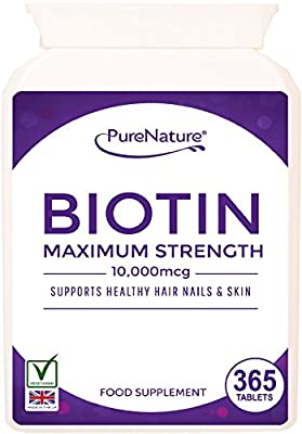 """Biotin Hair Growth Stronger & Thicker Hair 365 Tablets (Full 12 Month Supply) 10,000mcg Double Strength Vitamin B7 Easy to Swallow For Hair Loss & Supports the Growth & Maintenance of Healthy Hair Nails & Skin for Women and Men. PureNature Rated """"BEST BUY"""