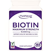 Biotin Hair Growth Supplement |10000mcg | 365 Tablets (Full Year Supply) | for Healthy Hair, Nail and Skin Support by PureNature