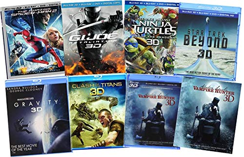 Ultimate Action & Adventure 8-Movie Blu-ray 3d Collection: Amazing Spider-Man / Wrath of the Titans / Clash of the Titans / Star Trek: Beyond / Gravity / TMNT / G.I. Joe: Retaliation / Abraham Lincoln