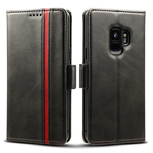 Rssviss Samsung Galaxy S9 Hülle Premium Leder [3 Kartenfächer ] Handyhülle Galaxy S9 Case mit [Magnetverschluss ] für Samsung Galaxy S9, 5.8 Zoll,Schwarz (W5)