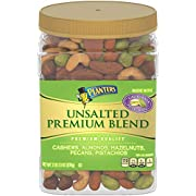 PLANTERS Unsalted Premium Nuts, 34.5 oz. Resealable Container - Contains Roasted California Pistachios, Cashews, Almonds, Hazelnuts & Pecans - No Artificial Flavors or Colors - Kosher