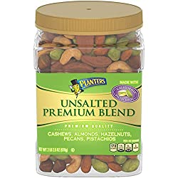 PLANTERS Unsalted Premium Nuts, 34.5 oz (978g) Resealable Container | Contains Roasted California Pistachios, Cashews, Almonds, Hazelnuts & Pecans | No Artificial Flavors or Colors | Kosher