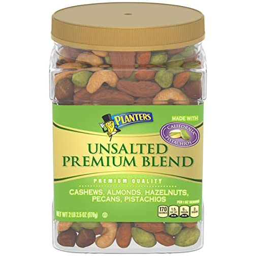 PLANTERS Unsalted Premium Nuts, 34.5 oz. Resealable Container - Contains Roasted California Pistachios, Cashews, Almonds… 3