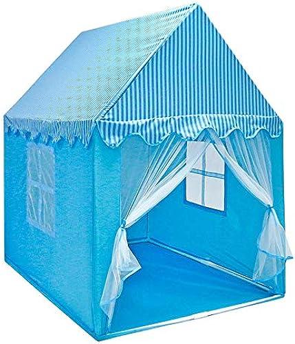 Mogicry Moderne Blaue Einfache Baumwollgewebe Kind Tipi Spiel Spielzeug Haus mädchen Prinzessin Schloss Lesen Ecke Dekoration Zelt Kinder Spielen Zelt Mit Bodenmatte Für Kinder 1+(140  110  150cm  )