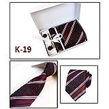 SHENGNONG Herren Krawatten-Set aus Polyester-Seide mit quadratischen Schal Manschettenknöpfen Krawattenklammer Geschenkbox