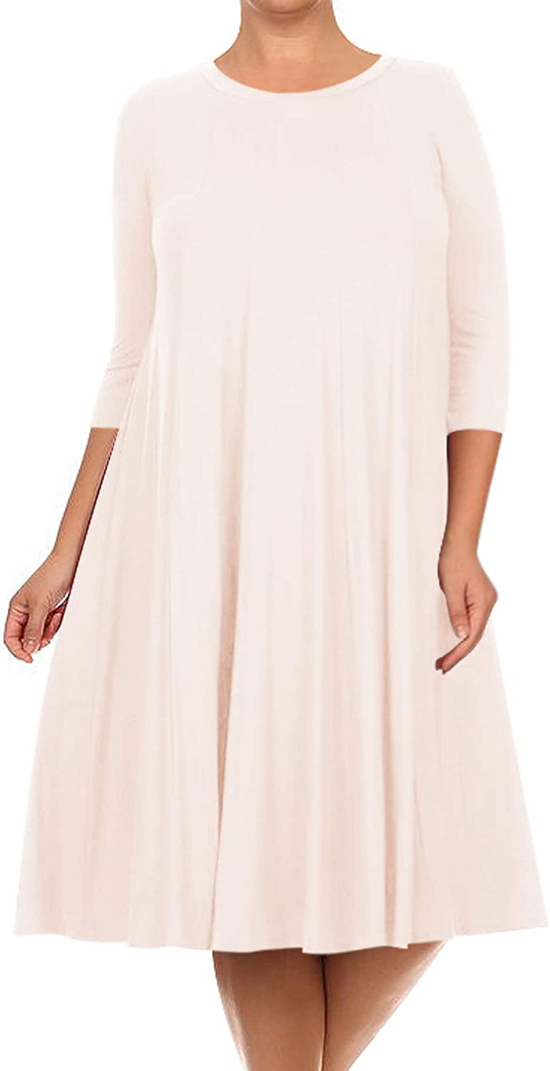Women's Plus Size Casual 3/4 Sleeves A-Line Solid Midi Dress Made in USA