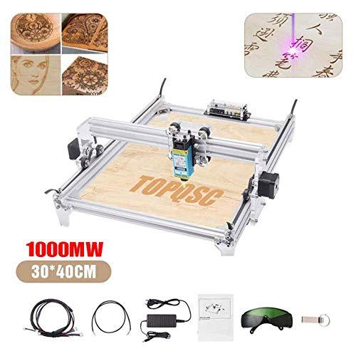 TOPQSC 1000MW Máquina de Grabado Láser CNC, Impresora de Escritorio DIY Impresora de Marcado de Imagen de Logotipo, Máquina de Corte de Grabado de Madera USB de 12 V, Area de Grabado: 30x40 cm
