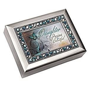 Beautiful decorative jeweled inlay photo frame lid. Brushed silver finish. Music box measures approximately 8 x 6 x 2.5 inches; Replace artwork with a 4 x 6 inch personal photo. Traditional wind-up mechanism engages music to play melodic tune You Lig...