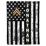 Personalized Name Officer Insignia Rank United States US Army Soldier USA Military Veteran Birthday Christmas Fleece Sherpa Blanket Bed Throw Tapestry Wall Hanging (Custom Army, Fleece - 50x60)