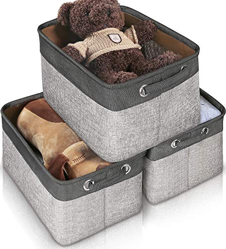 Storage Basket Bin Set [3-Pack], JOMARTO Large Cube Storage Box Linen Fabric Built-in Soft Lining Foldable Organizer with Handles for Home Office Closet Toys Clothes Kids Room Nursery