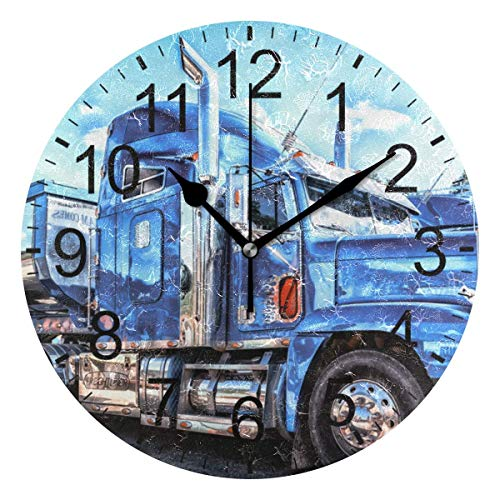 Promini Retro Truck Bus Wooden Wall Clock 12inch Silent Battery Operated Non Ticking Wall Clock Vintage Wall Decor for Kitchen, Living Room, Bedroom, School, or Office