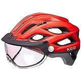 KED Covis Photocromatic - Casco de Bicicleta de montaña y BMX para jóvenes (Incluye Banda de Seguridad RennMaxe), Color Rojo Gris Mate, tamaño 55-61 cm