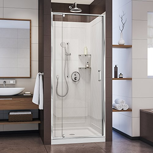 DreamLine Flex 36 in. D x 36 in. W x 76 3/4 in. H Semi-Frameless Shower Door in Chrome with White Base and Backwalls, DL-6218C-01CL