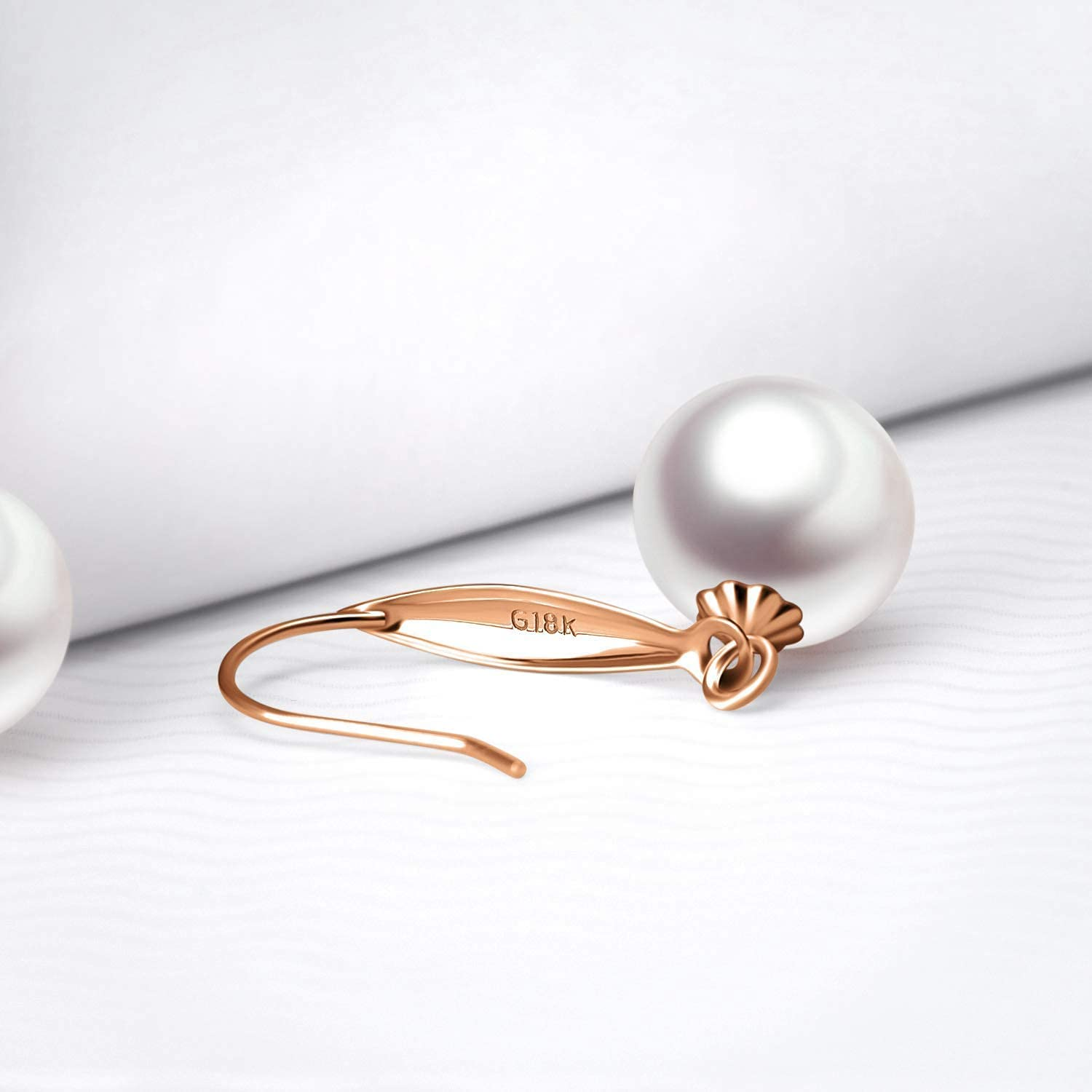 18k Rose Gold Pearl Pendant Necklaces with 14k Chain (18
