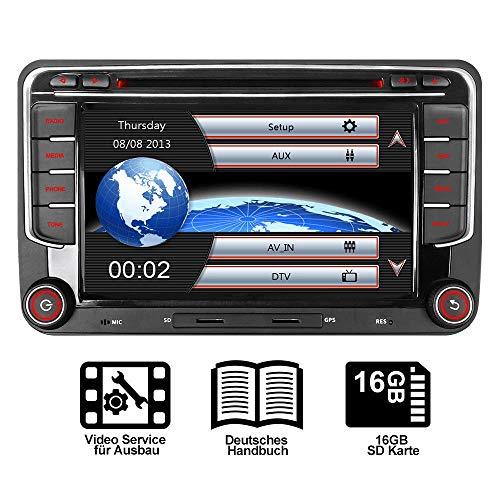 "16GB SD Karte 7\"" AUTORADIO DVD GPS Für VW Golf 5/6 V VI,Passat B6,Tiguan,Polo,Jetta,Skoda Fabia, Octavia,Yeti, Seat Leon,Touran,Candy, Sharan,EOS, DAB+ VMCD Mirrorlink GPS Navigation USB SD BT 7 LED"