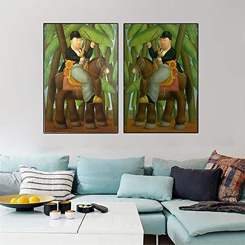 WJWGP Fernando Botero De La Lona CláSico Decoracion 40x60cmx2 Marco Famosos Arte Pinturas Hombre EquitacióN Caballo Pared Arte Bailarina Arte Poster Estampados Cuadros Inicio 40x60cmx2 Sin Mar