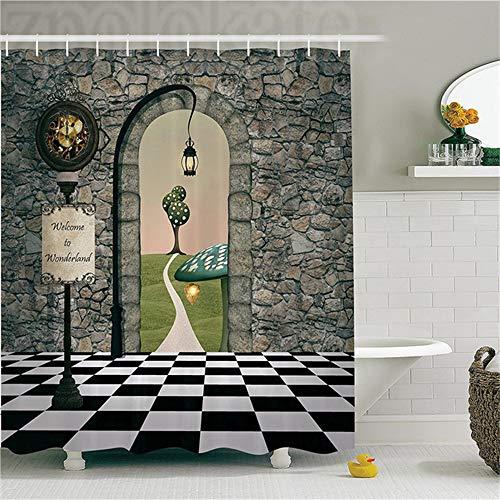 ZLWSSA Cortina de Ducha 3D a Prueba de Agua Alicia en el país de Las Maravillas Decoraciones Welcome Wonderland Piso en Blanco y Negro Árbol Paisaje Seta Linterna 180x240cm