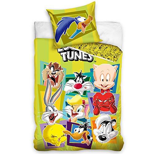 Looney Tunes Einzelbettbezug aus Baumwolle und Kissenbezug