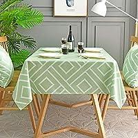 テーブルクロス長方形の緑、ポリエステルジャカードアンチファッドテーブルクロスしわ防止ダストテーブルクロス家の装飾キッチンレストラン中庭カフェ防水パーティーフェスティバルディナー