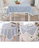 QUANHAO Mantel Rectangular antiincrustante, Mantel Impermeable, Mantel de algodón poliéster decoración a Prueba de Polvo, Utilizado para mesas cuadradas y Redondas (Azul, 150x200cm)
