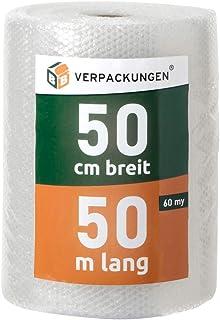 BB-Verpackungen 1x Luftpolsterfolie 0,5 x 50 m echte 60 my stark, Versandfolie, Polsterfolie zum Schutz von empfindlichen Gegenständen, recycelbar - Sets zwischen 1 und 30 Rollen