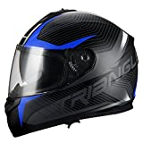 triangle Full Face Dual Visor Matte Black Street Bike Motorcycle Helmet (Medium, Matte Red)