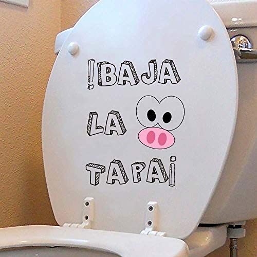 Oedim Vinilo Decorativo para WC Frase Divertida 28 x 31 cm | Adhesivo de Fácil Colocación | Pegatina para Inodoro Económica y Resistente | Sticker