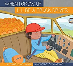 I'm a Truckdriver - book cover has a cartoon illustration of a young boy driving an 18-wheeler truck,