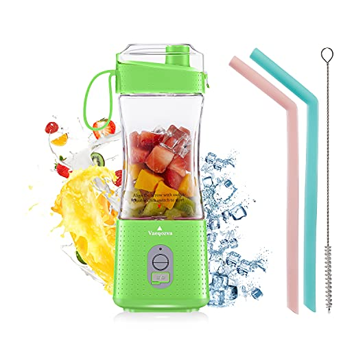 Portable Blender VaeqozvaUSB Rechargeable Personal Size Juicer Cup for Shakes and SmoothiesMini Blender with 6 3D Blades Fruit Mixer for Home, Sport, Office, Outdoors - Green