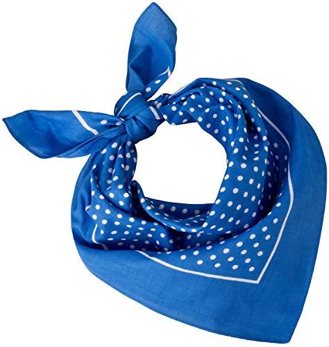 Tobeni 548 Damen Herren Nickituch Kopftuch Bandana Halstuch Baumwolle Unisex Farbe kleine Punkte Hellblau Grösse 54 cm x 54 cm