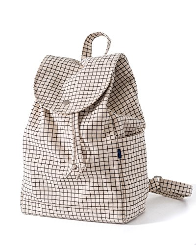 BAGGU Canvas Backpack, Durable and Stylish Simple Canvas Satchel for Daily Essentials, Natural Grid