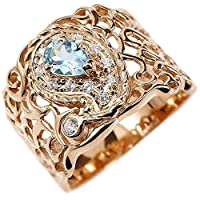 [アトラス]Atrus リング レディース 18金 ピンクゴールドk18 ペイズリー ダイヤモンド ブルートパーズ 透かし 幅広 エンゲージリング 指輪 15号