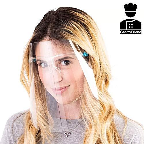 GastroFriend Komfort Gesichtsschild | Mundschutz | Schutzschild | Gesichtschutz mit Brille | Visier aus extra klarem Kunststoff | Besonders angenehm zu tragen (1-er Set)