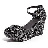 Glitter Jelly Wedge Sandal, FUN BLACK 38
