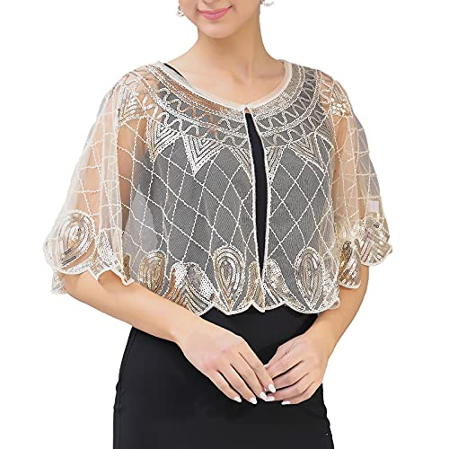 Oyolan Women's 1920s Vintage Cape Jacket Shiny Sequins Bridal Shawl Capelet Art Deco Flapper Bolero Cover Up for Evening Party Apricot&Gold One Size