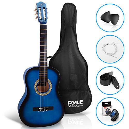 "Beginner 36"" Classical Acoustic Guitar - 6 String Junior Linden Wood Guitar w/ Wooden Fretboard, Gig Bag, Tuner, Nylon Strings, Picks, Strap, For Beginners, Kids Adults - Pyle PGACLS82BLU ""Blue Fade"""