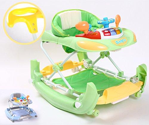Kidmeister Gehfrei Baby Walker Lauflernhilfe mit Schiebestange Musik Spielstation, Schaukelfunktion (Grün)