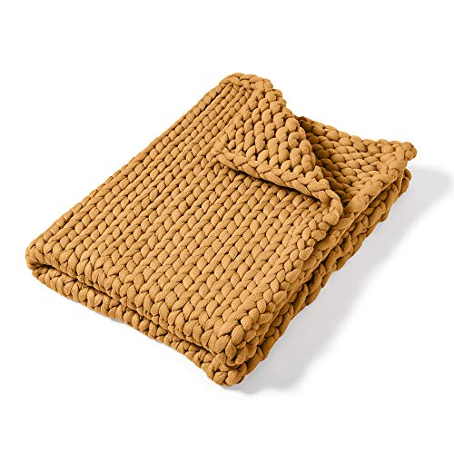 Throw Blanket - Chunky Knit Camel by Donna Sharp - Contemporary Decorative Throw Blanket with...