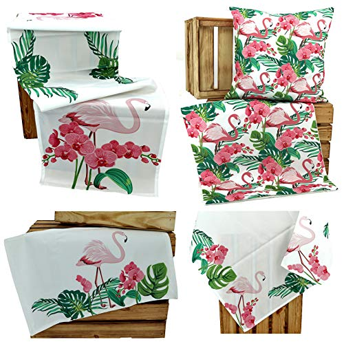 heimtexland ® Outdoor Tischwäsche Lotus Effekt Garten Deko Tropical Summer Wasserabweisend Flamingo Tischdecke 85x85 Typ640