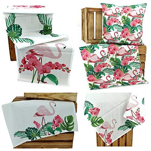 heimtexland ® Outdoor Kissen Lotus Effekt Garten Deko Tropical Summer Wasserabweisend Flamingo Kissenhülle 40x40 Typ640