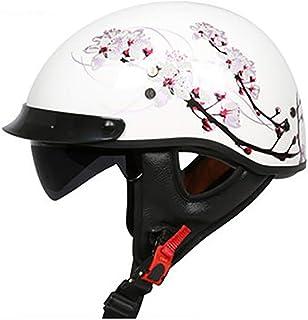 SRUN FRP Medio Casco Patrón de Flor Moto Casco Gafas de Sol internas Moto Casco Crucero Scooter Casco de Motocicleta Unisex (M, L, XL, XXL),L