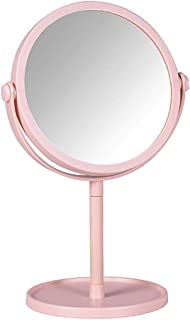 Makeup Mirror Tabletop Makeup Mirror with Tray, 360 Degree Swivel Vanity Mirror, Detachable 3X Magnifying Spot Mirror (Pink), for Home Travel