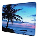 Ocean Beach Scene with Palm Trees Mouse Pad with Stitched Edge Non-Slip Rubber Base Mouse Mat for Gaming Laptop Computer PC 7.9x9.5x0.12 inch