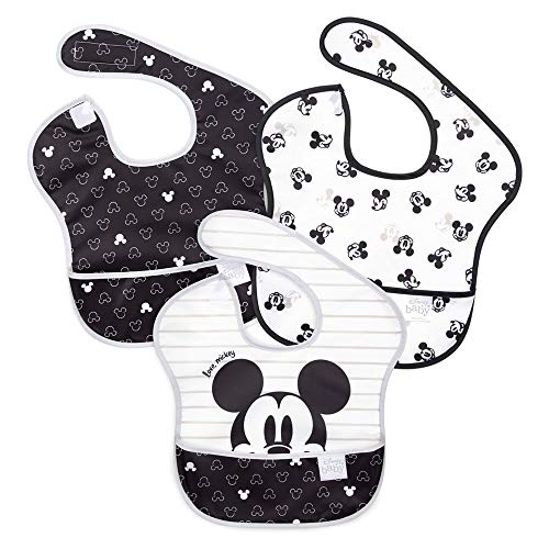 Bumkins SuperBib, Baby Bib, Waterproof Fabric, Fits Babies and Toddlers 6-24 Months - Disney Love, Mickey (3-Pack)