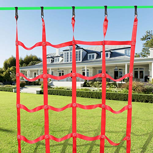 X XBEN Obstacle Course Kids 50' Slackline Kit, Ninja Training Equipment for Adult, Come with Jungle Gym Monkey Bars, 78.7