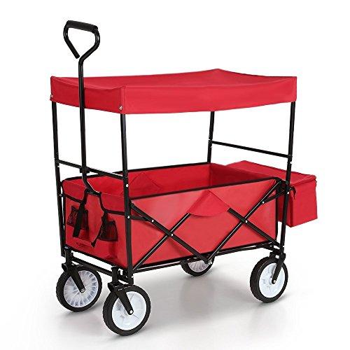 LIFE CARVER Folding Camping Cart Garden Wagon 4 Wheeled Collapsible Festival Trolley, Portable Garden Cart & DIY Waste Wagon - 150KG Capacity